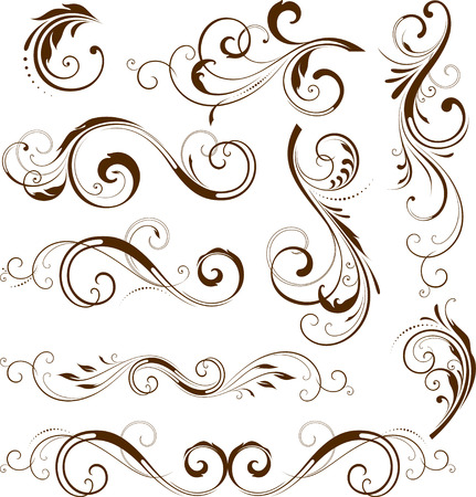 scroll design: Vector set of ornate calligraphic vintage elements and page decorations. Illustration