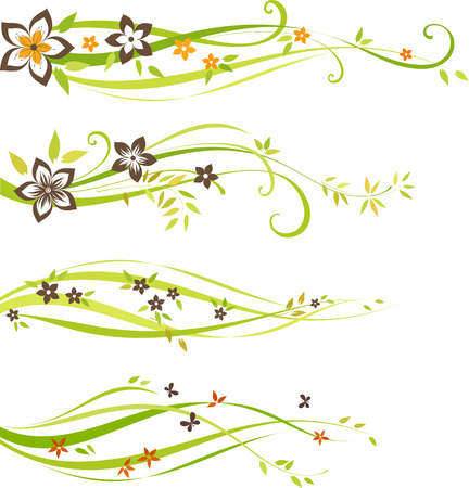 Four individual scroll design with flowers and leaves. As well in vertical. Illustration