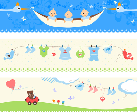triplet: Beautiful set of baby banners. Vector illustration. Illustration