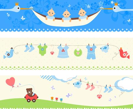 Beautiful set of baby banners. Vector illustration. Illustration
