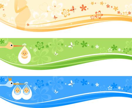 niñas gemelas: Hermoso conjunto de banderas del bebé. Ilustración del vector.