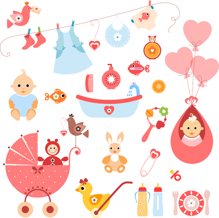 bugs bunny: Beautiful set of newborn elements. A set of cute items for newborn baby girl.