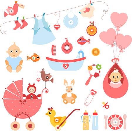Beautiful set of newborn elements. A set of cute items for newborn baby girl.