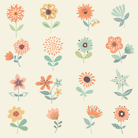 peach blossom: Vector decorative floral set. Good for birthday cards, wedding invitations and scrapbook.