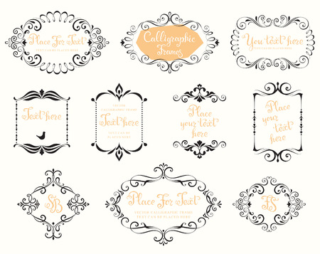 Vector calligraphic frames and vintage design elements. Use for vintage wedding invitations, royal certificates, greeting cards, menus, covers and posters.