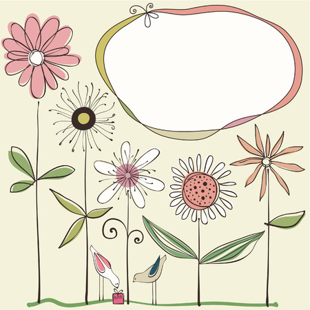 Doodle flowers, frame, birds and gift box. Use for printed materials, invitations, greeting cards, covers, placards, posters postcards and brochures