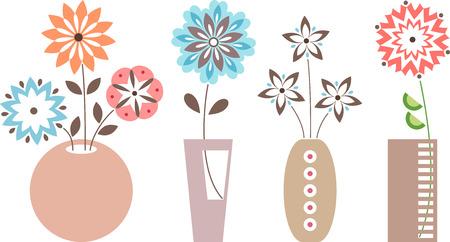 embellishment: Vase of flowers. Isolated vase of flowers set on white background.