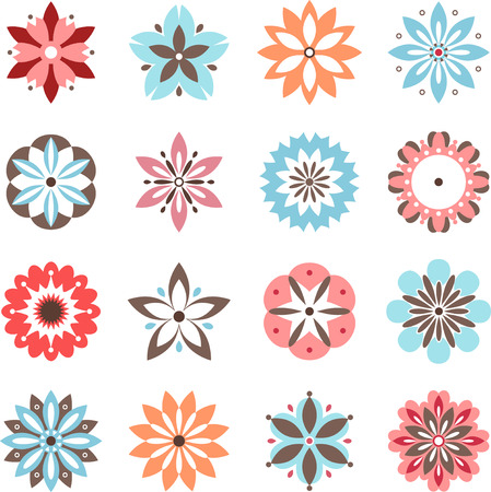 Fun flowers set. Easy to use. Vector illustration