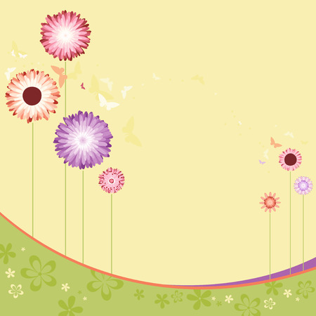Floral design with copy space. Use for printed materials, invitations, greeting cards, covers, placards, posters, postcards and brochures Ilustração