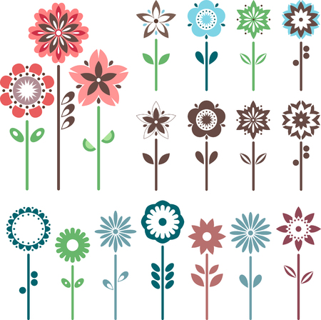 Fun flowers set. Easy to edit vector image.