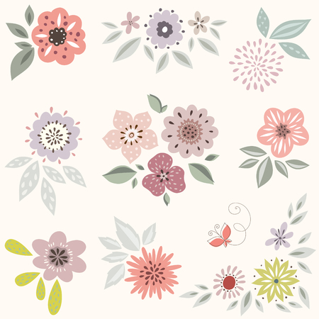 Vector decorative floral set. Good for birthday cards, wedding invitations and scrapbook.