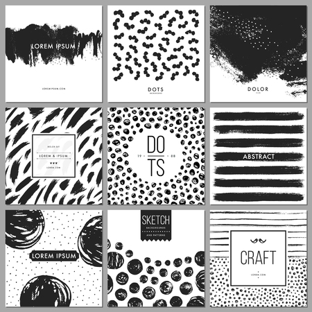 Set of universal cards. Hand drawn cards with abstract grunge textures. Use for printed materials, cards, invitations, greeting cards, covers, placards, posters, postcards, brochures and flyers. Good for business cards, branding and identity design. Ilustração