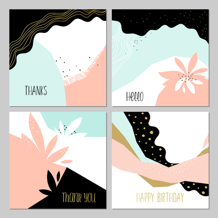 Set of universal cards. Contemporary cards design with abstract floral and geometric elements. Use for printed materials, invitations, greeting cards, covers, placards, posters, postcards, brochures and flyers. Good for business cards, branding and identi