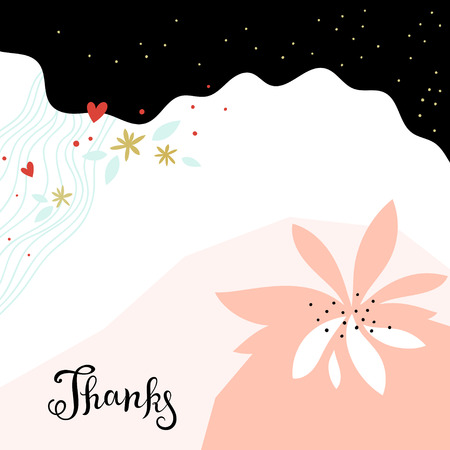 Universal Thanks card. Contemporary card design with abstract floral and geometric elements. Use for printed materials, invitations, greeting cards, covers, placards, posters, postcards, brochures and flyers. Good for business cards, branding and identity