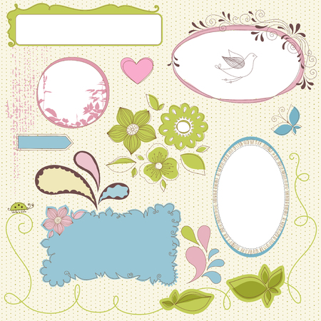 Frames and floral motifs. Use for wedding invitations, greeting cards, menus, programs, covers, posters, brochures and flyers. Illustration