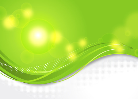 Sunny green background with elegant abstract wave. Illustration