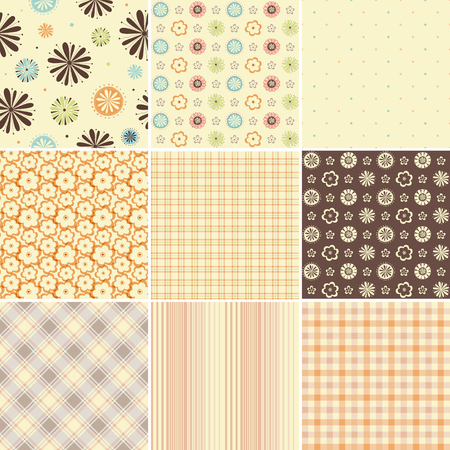 Vector seamless patterns. Can be used for wallpaper and textile design, pattern fills, website backgrounds, surface textures and book design. Ilustração