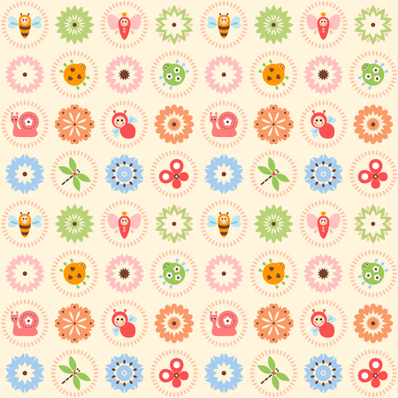 Vector seamless pattern with flowers, bee, bugs, dragonfly, snail and butterflies.