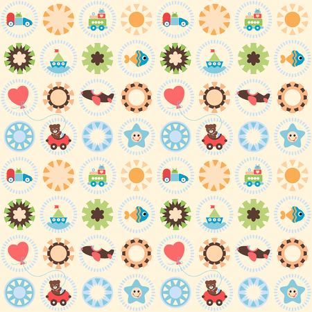 Seamless Pretty Toy. Vector seamless pattern. Easy to use.