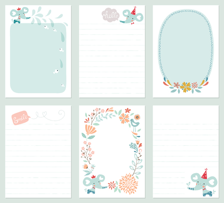 Set of 6 creative journaling cards with floral wreath, baby elephant, decorative flowers, bird, fish and lettering. Template for scrapbooking, notebook, wrapping, diary and childrens party printable cards. Vector illustration.