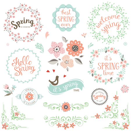 Spring typografie ontwerp set.