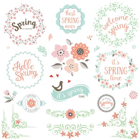 floral border: Spring typography design set. Illustration
