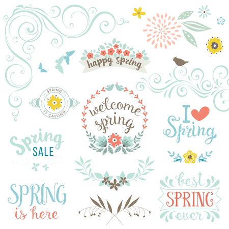 Spring typographic design set.