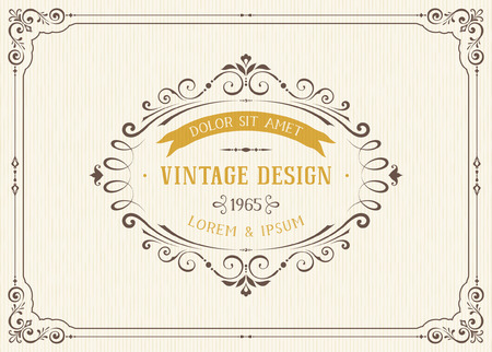 Diseño adornado tarjeta de la vendimia con el marco de adornos ornamentales. Uso para las invitaciones de boda, certificados reales, tarjetas de felicitación, menús, portadas, carteles, folletos y volantes. Ilustración del vector.