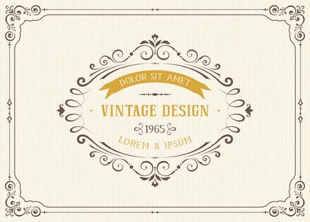 Verziertes Vintage-Karte Design mit dekorativen Schnörkeln Rahmen. Verwenden Sie für Hochzeitseinladungen, königs Zertifikate, Grußkarten, Speisekarten, Briefe, Plakate, Broschüren und Flyer. Vektor-Illustration.