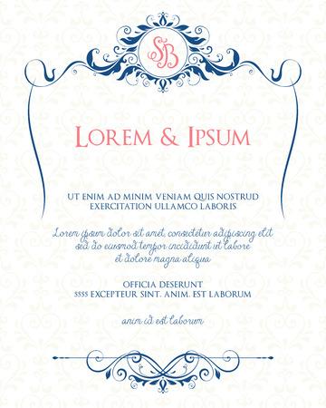装飾花のフレームとモノグラム ・華やかなデザイン。結婚式招待状、グリーティング カード、招待状、メニューのカバー、ポスター、パンフレット