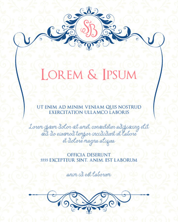 blue lines: Ornate page design with decorative floral frame and monogram. Use for wedding invitations, greeting cards, invitations, menus, covers, posters, brochures and flyers. Vector illustration.