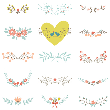 Set of floral elements with branches, leaves, flowers, birds and hearts, isolated on white background. Illustration