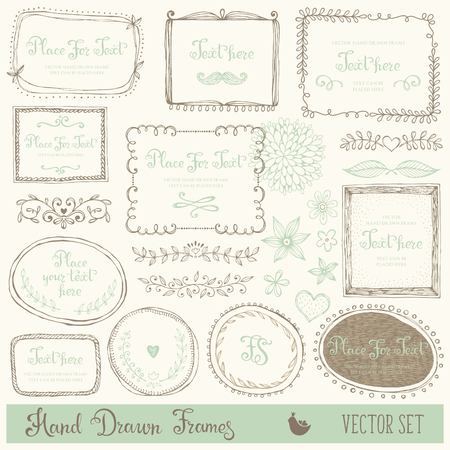 Hand drawn decorative vector frames and design elements. Set of doodle dividers, borders and flowers. Ink illustration.