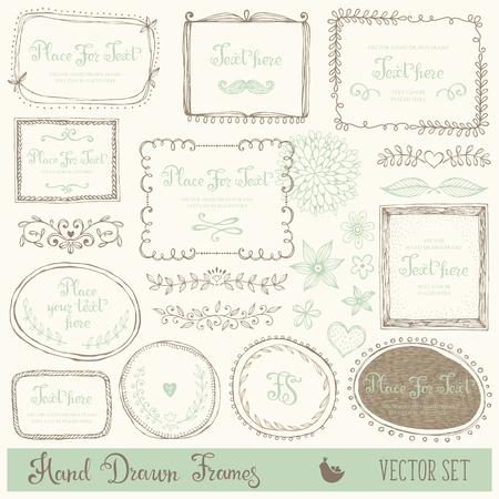 Hand getekende decoratieve vector frames en design elementen. Set van krabbelverdelers, grenzen en bloemen. Inkt illustratie.