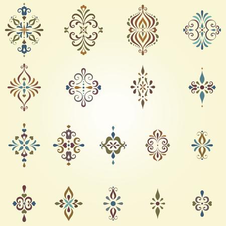 grecas: arabescos de vectores y remolino motivos ornamentales. Puede ser utilizado para la creación de patrones sin fisuras damasco. Los elementos se pueden desagrupar para facilitar la edición.