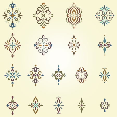 Vector arabesques and swirl ornate motifs. Can be used for creation damask seamless patterns. Elements can be ungrouped for easy editing. Ilustração