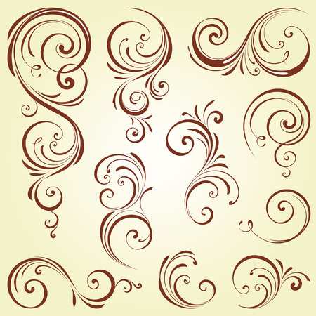 Ornate swirl motifs. Use for vintage wedding invitations, royal certificates, greeting cards, menus, covers, posters, brochures and flyers.