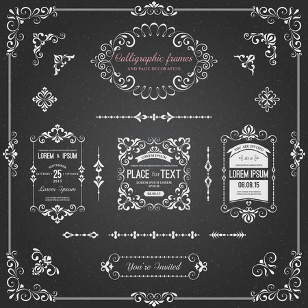 Ornate chalkboard frames and scroll elements for weddings, anniversaries, engagements, save the date announcements, thank you notes or any special occasion. Zdjęcie Seryjne - 60000886