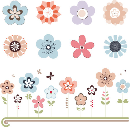 Vector retro floral set with butterflys. All elements can be easily modified or removed.