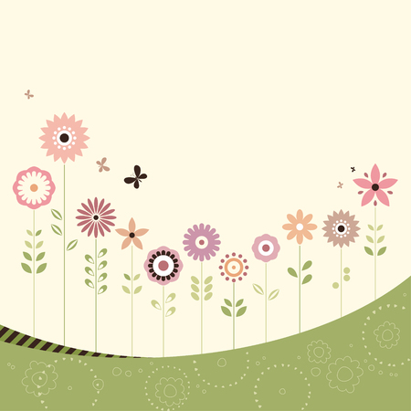 Vector floral design with butterflies and copy space. Use for printed materials, invitations, greeting cards, covers, placards, posters, postcards and brochures.