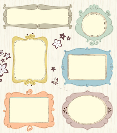 butterfly flower: A set of different frames. Background texture is a seamless pattern.