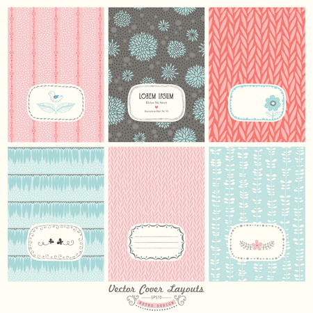Set of vintage brochure. Vintage cards with abstract floral seamless patterns and ornaments. Use for printed materials, signs, elements, web sites, cards, covers, placards, posters, flyers, postcards and banner designs.