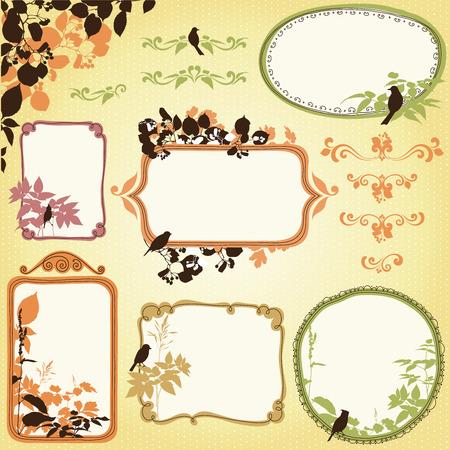 bordure de page: Cadres naturels dessinés à la main, bannières aux feuilles et aux oiseaux. Fond transparent. Illustration