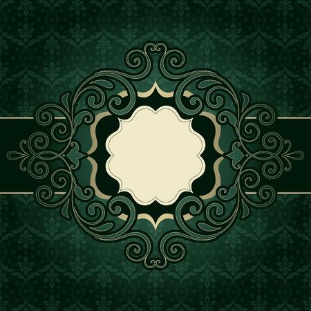 portadas libros: Bandera adornada marco de la vendimia con el fondo de damasco sin fisuras.