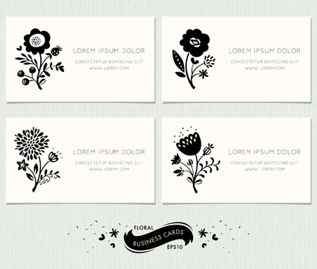 Set of floral business cards. Ornate floral design in modern style with decorative floral elements. Complied with the standard sizes.