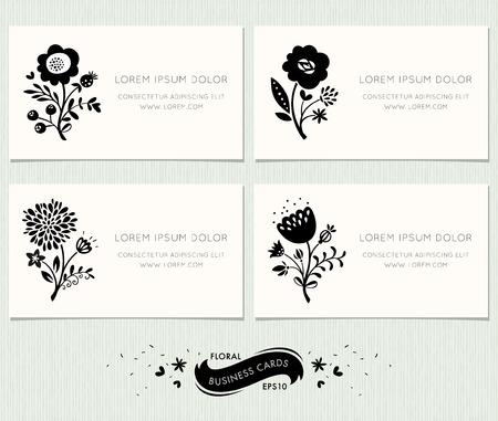 Zestaw kwiatów wizytówki. Ozdobny kwiatowy design w nowoczesnym stylu z ozdobnymi elementami kwiatowymi. Spełnia standardowe rozmiary.