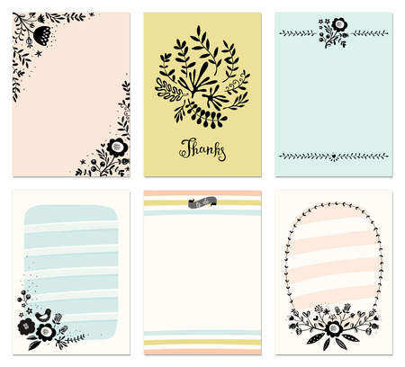 Set of 6 floral cards. Good for filler cards for scrapbook, planner, diary journaling, wedding cards and invitations, birthday, party invitations, greeting cards and invites, journaling cards and notes. Vector illustration.