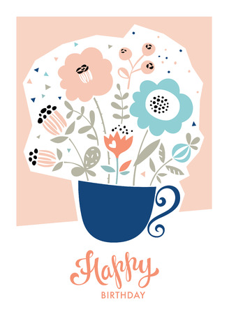 Happy birthday card in scandinavian style. Cup with decorative flowers. Use for greeting cards, invitations, posters and scrapbooking. Vector illustration.