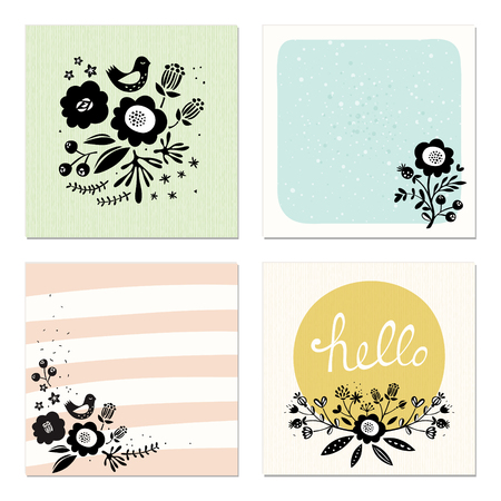 Set of 4 scandinavian floral cards. Good for wedding cards and invitations, anniversary, birthday, party invitations, art posters, greeting cards and invites, journaling cards, planners, diaries, notes and scrapbooking. Vector illustration. Ilustração
