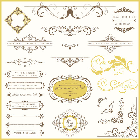Vector set of ornate calligraphic vintage elements and page decorations. Illustration